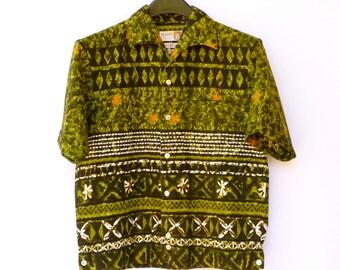 Vintage Mid Century Hawaiian Shirt -- -- Chartreuse Green Tiki Barkcloth  --  M