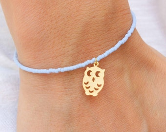 Tiny Owl Bracelet - Gold Plated Beaded Owl with blue agate seed beads - Beaded Bracelet - Friendship Bracelet
