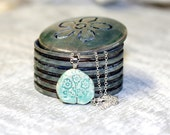 Ceramic floral necklace Mothers Day gift mint green floral necklace with sterling silver chain
