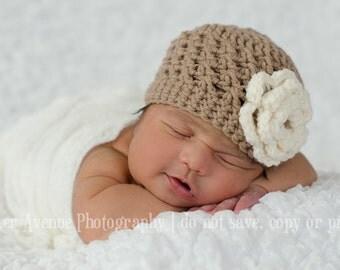 Baby Girl Crochet Flower Hat- Brown and Cream, Toddler Girl Hat, Newborn Hat,