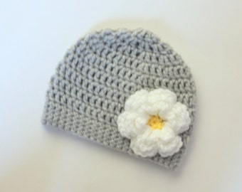 Crochet Baby Girl Flower Hat- Gray with white and yellow flower