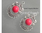 2pcs-25x20mm, red coral, antique silver, chandelier earrings, gypsy style, center necklace, pendant, connector, charm, focal point, drop