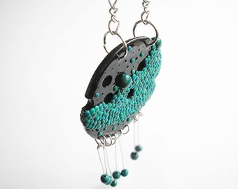 """Art Jewelry / abstract necklace, polymer clay necklace, OOAK / """"Abstract 1"""" /"""