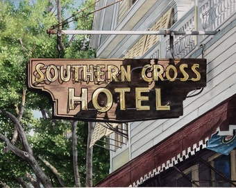 Southern Cross Hotel, Key West, Original Watercolor, 20 x 14 - FREE SHIPPING