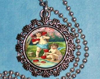 Valentine's Day  Art Pendant, Love Resin Pendant, Cupid Vintage Art, Photo Pendant Charm