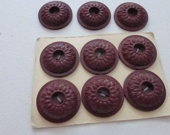 9 Vintage Brown Plastic Flower Buttons B261