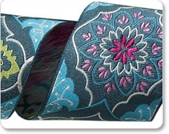 "AMY BUTLER 2"" ribbon--Alchemy--Gray on Blue Brocade--price is per yard"