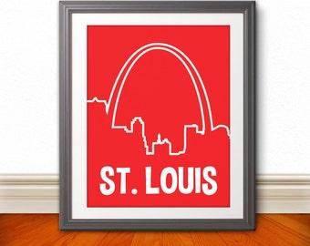 St. Louis, MIssouri Custom Color Skyline Print, St. Louis Art, St. Louis Print, St. Louis Sign - 11x14