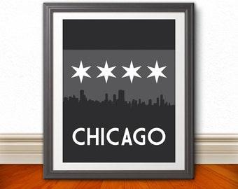 Chicago, Dark Chicago Skyline, Chicago Print, Chicago Art, Chicago Poster