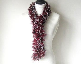Red and silver scarf, Ladies scarf,ruffle scarf,,sashay scarf, uk scarves, ruffled scarf, lightweight scarf. ladies accessories
