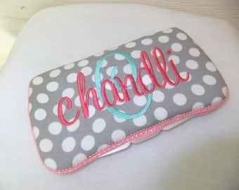 Custom Grey Polka Dot Diaper Wipes Case