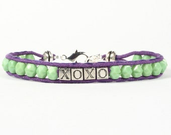 Love and kisses bracelet, Alphabet letters bracelet, XOXO, CarolMade Sw43
