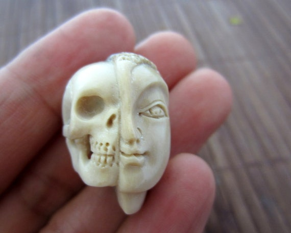 Unique two Face Skull, Bone Sculpture, Carved  Deer Antler ,  Jewelry making supplies B3834