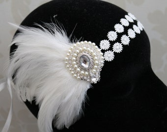 Great Gatsby Headpiece - 1920s Headpiece , Flapper headdress - 1920s - Bridal headband - Gatsby headband - bridal headpiece
