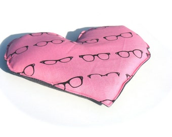 Flax Heating Pad, Pink Geeky Retro 60s Glasses, Gray Flannel, Heart Neck and Sinus Heat Pack.