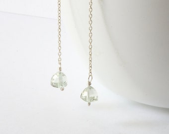 Trillion Cut Green Amethyst Long Linear Earrings Pale Green Minimalist Ethereal Dainty Drop Earrings