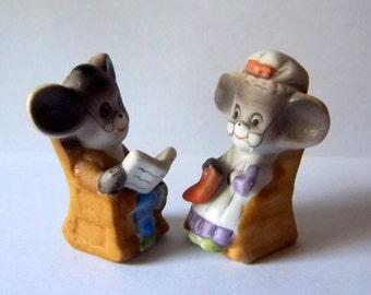 Adorable Grandpa and Grandma Mice Figurines - Vintage Miniature Doll House Decor