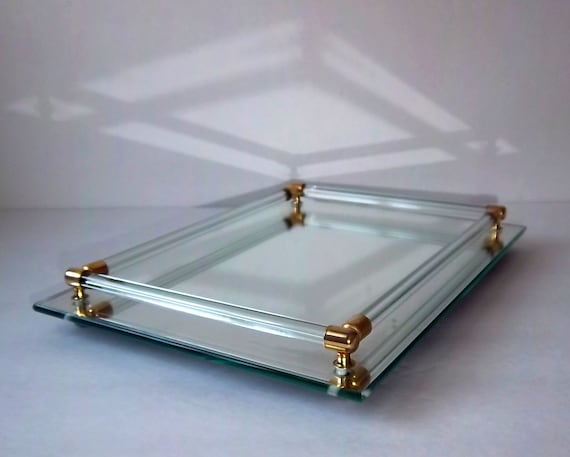 Mirrored Vanity Tray With Glass And Brass Rails