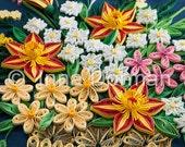 Flower basket & praying mantis wall art. Framed with glass, OOAK. Paper filigree / quilling