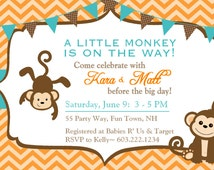 Monkey Baby Shower Invitations Chevron Teal Orange Brown - Monkey Baby Shower Invites Chevron Bunting Blue Grey - Baby Shower Boy Monkey