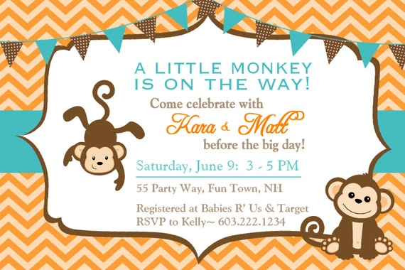 monkey baby shower invitation boy invitation monkey shower, Baby shower