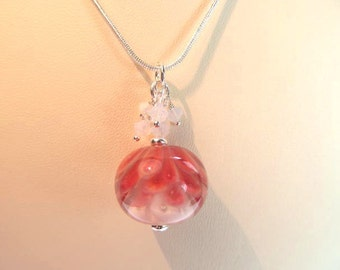 Necklace red glass art lampwork petal bead with white, opal white crystals