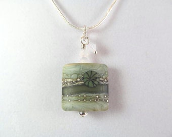Necklace green square glass lampwork bead, crystals, bead by Friskey Lampwork
