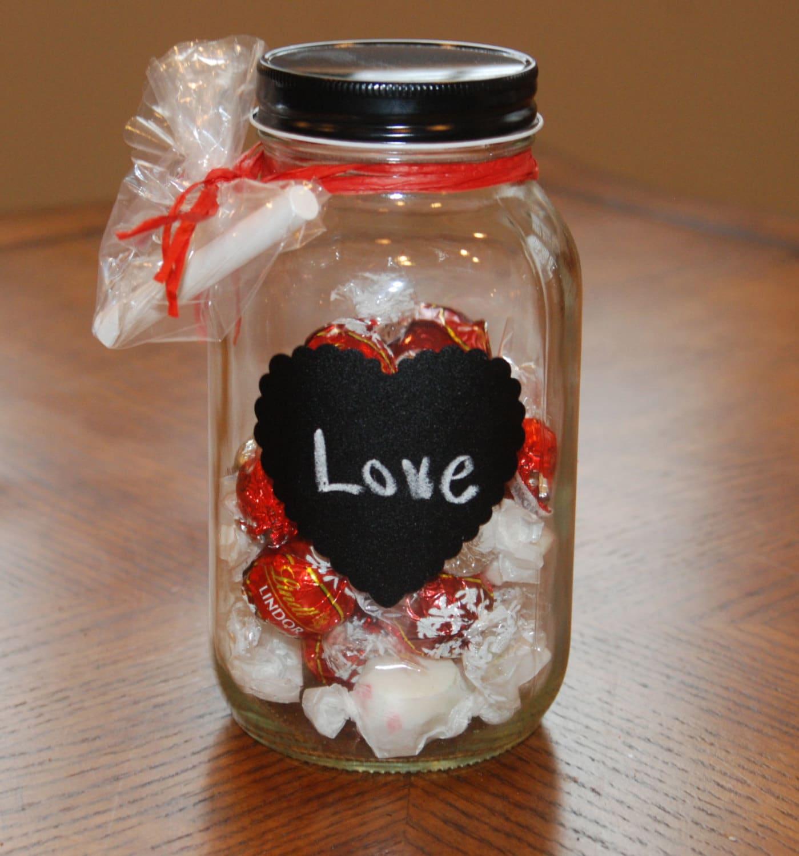 quart size mason jar with heart shaped chalkboard label black. Black Bedroom Furniture Sets. Home Design Ideas
