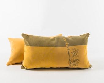 Yellow slipcover cushion - Urban pattern 2
