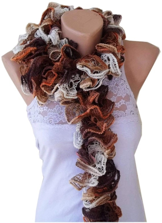 Ruffle scarf, knitted ruffle scarf, brown scarf, gift for her, Winter Scarf, womens clothing, Women Scarves, Hand Crochet Ruffle Scarf