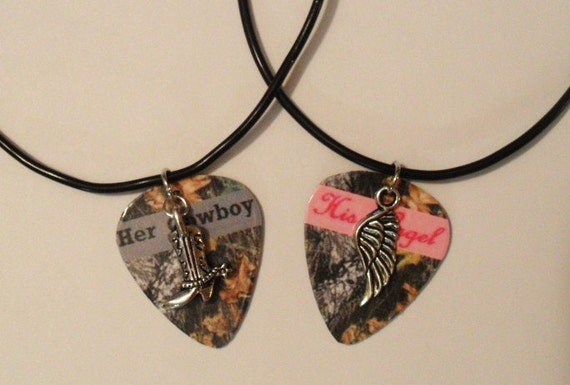 Her Cowboy boot His Angel wing charm guitar pick matching necklaces ...