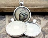Pendant Kit, 10 Silver Pendant Blanks, 25mm Glass Domes- 1 Inch Round, Bezel, Cabochon Settings, DIY, Jewelry Making Supplies- SPG10