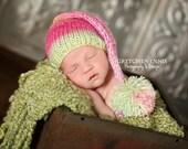Newborn Knit Elf Hat with Pom Pom