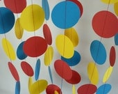 Red, Yellow, Blue Children's Birthday Party Decoration, Bright Circus Decor, Paper Garland,10 ft.