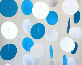Blue and White Garland, Birthday Decorations, Fathers Day, Nursery, Baby Shower, Graduation Decor