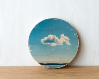Cloud Circle Photo Art Block -  ImageTransfer on wood by Patrick Lajoie, sky, summer, beach