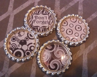 Set of 4 - Bottlecap Magnets Black and White