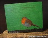 On the Fence (European Robin) is an acrylic on wood original painting by artist Rachel Dickson
