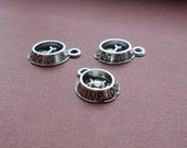 6 Tiny DOG DISH Top Dog Bowl Charms Mini Atq Silver Tone Pet Charm Jewelry 11x15mm Please Read Item Details