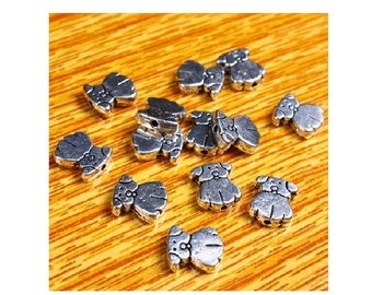 12 Puppy Dog Small Spacer Beads Antique Silver Tone Dogs Some Variations Read Item Details Beading Supplies for Jewelry 10x9 mm
