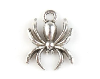 12 Spider Charms  Antique Silver Tone Halloween Fall Spiders Charm Jewelry 18x14x3 mm READ DETAILS