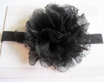 Black Lace Chiffon Baby Headband, Infant Headbands, Baby Girl Headbands, Infant Bows, Baby Bows, Newborn Headbands