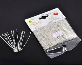 "1 Packet(300PCs) Well Sorted Silver Plated Head Pins 5cm(2"")-701a"