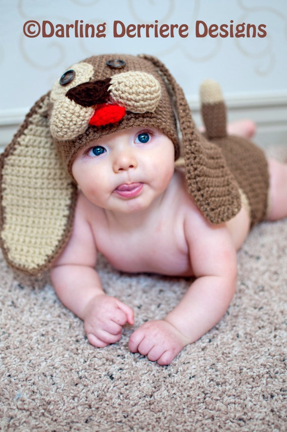 Crochet Dog Hat And Diaper Cover Pattern : Instant Download Baby Puppy Crochet Diaper Cover and Beanie