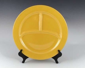 "Fiestaware Plate Divided in Bright Yellow Retired, Vintage Kitchen Homer Laughlin, 10 1/2"" Three Compartments"