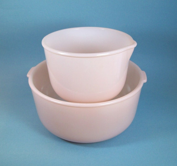 Vintage PINK Glasbake Mixing Bowls for Sunbeam Stand Mixer