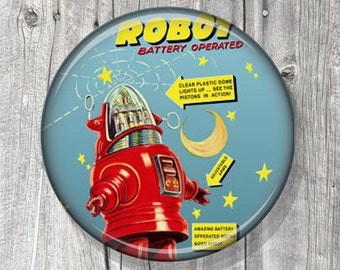 Pocket Mirror - Compact Mirror - Si Fi - Compact Mirror Vintage Space Robot Toy - Lost in Space - Retro - gift under 5 - party favor - A15