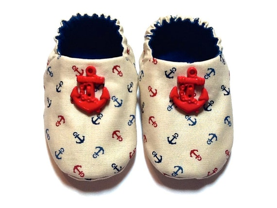 Nautical Baby Boy Shoes with Red Anchors