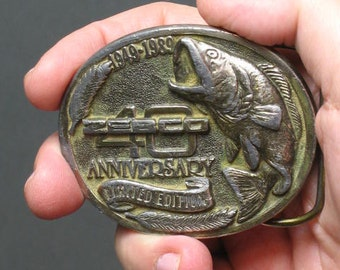 40th Anniversary Limited Edition ZEBCO Fishing Bass metal belt buckle - 1949-1989