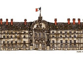 """Paris Drawing Print of the Hotel des invalides , illustration blue grey red white wall art home decor - Size A4/ 8,27"""" x 11,7"""" UNFRAMED"""